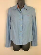 WOMENS AMERICAN EAGLE OUTFITTERS BLUE LONG SLEEVE SMART/CASUAL BLOUSE SIZE 0 XS