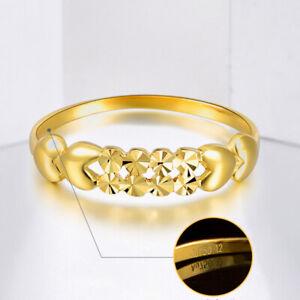 Fine Solid 18K Yellow Gold Ring Women Luck Full Star Heart Ring US6