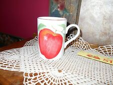 Fitz & Floyd Pommier Blanc French Apple Pottery Mug Cup Beaker Red White Apple