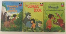 3x Vintage Disney's Wonderful World Of Reading Books - The Jungle Book & Mowgli