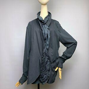 RUNDHOLZ Black Label Jacket Size XL Designer Ruffled Insets Cotton Blend Stretch