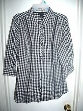 Lane Bryant Black and White Checked Button Front Ruffles 3/4 Sleeve Top 14/16