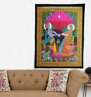 Divine Couple hindu god krishna radha sequin wall hanging tapestry decor poster