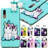 For Huawei Rubber 3D Gel Skin Silicone Protective Case Cover Soft TPU Cute Back