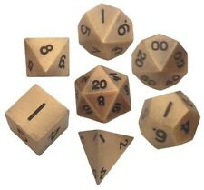 Metallic Dice Games 7 Solid Metal Dice Set in Antique Gold Color LIC005