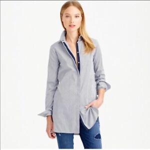 NWT J.Crew Women's Size 2 Endless Blue Striped Long Sleeve Button Up Tunic Shirt