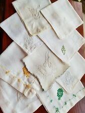 Vintage Ladies Hankies Lot Of 9 White Monogrammed