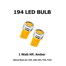 (2) 194 LED Bulbs - HP 1 Watt, Amber- Same Base as 168, 921, T10, T15