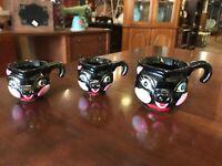 Vintage Mid Century Modern Set Of Three Pottery Kitty Car Kitten Measuring Cups