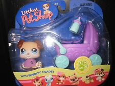 2006 Littlest Pet Shop MIP Baby Bulldog Pug Puppy Dog w/ Buggy #143 Hasbro Toy