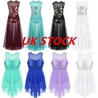 UK Kids Lyrical Ballet Dance Dress Girls Lace Sequins Tank Leotard Maxi Skirt