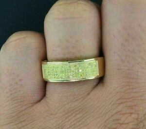 0.30cts Round Canary Yellow Men's Statement Pinky Ring 14k Yellow Gold FN Silver