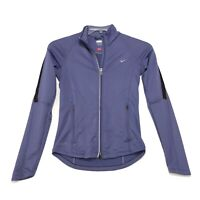 Nike FIT DRY 2 Way Zip Jacket Womens XS 0/2 Purple Mock Neck Vented Semi Fitted