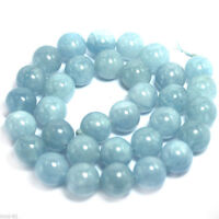 "Genuine 8mm Natural Aquamarine Round Gemstone Loose Beads Strand 15"" AAA"