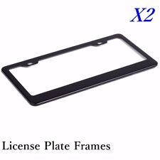 2X BLACK STAINLESS STEEL METAL LICENSE PLATE FRAME + SCREW CAPS TAG COVER
