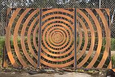 Decorative Garden Metal Fence Screen 'Spiral' Lasered, 2000x3400, Corten Steel