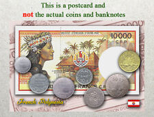 Postcard: French Polynesia Circulating Coins and Currency (Banknote) 2013