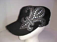 Pitbull 100% cotton women's fleur de lis Saints black with silver studs cap hat