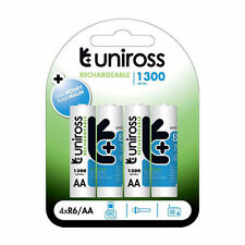 4 PILES ACCUS UNIROSS RECHARGEABLE AA LR06 1.2V 1300mAh Ni-Mh BATTERY BATTERIE