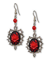 Gothic Red Rose Cameo Dangle Earrings Surrounded by Thorns with Red Bead #1011