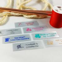 50 Personalized Satin Sewing Labels for Knitting, Quilting and Sewing Crafts