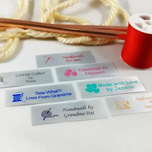100 Personalized Satin Sewing Labels for Knitting, Quilting and Sewing Crafts