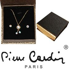 Genuine Pierre Cardin Gold & Crystal Pendant Earring Box Set Plated Valentine