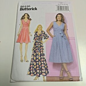 Butterick 6446 B6446 Ladies Wrap Dress Pattern Sz 6 - 14 NEW Uncut