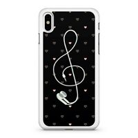 Music Note Earphones Pretty Pink Mini Love Hearts Pattern Fine Phone Case Cover