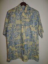 GO BAREFOOT  4 BUTTON YELLOW HAWAIIAN SHIRT Large L