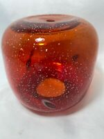 Red Orange Gold Glitter Glass Replacement Hanging Swag Light Lamp Globe Vintage
