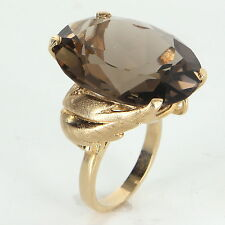 Large 35ct Smoky Quartz Cocktail Ring Vintage 14k Yellow Gold Estate Pre Owned