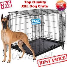 "Extra Large Dog Kennel Crate 48"" Folding Pet Cage Metal 2 Doors Tray Pan XL XXL"