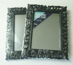 "Black Scroll Framed Mirror 4x6"" Set of Two (2)"