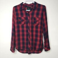 Rails Women's Top Medium M Red Blue Plaid Long Sleeve Button Up Collared