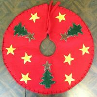 Felt Christmas Tree Skirt Primitive Trees and Stars Applique 22""