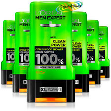 6x Loreal Men Expert Shower Gel Clean Power Citrus Wood, Intense Purifying 300ml