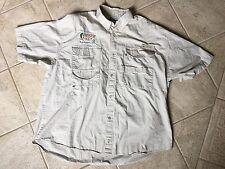 COLUMBIA Men's PFG Paradise Key Nylon Fishing Shirt Khaki Vented Size XL