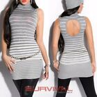 Womens New Turtleneck Long Sweater Sleeveless Cut Out Back Sexy Jumper Size 8-10