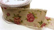 Antique Imprimé Rose Toile De Jute Ruban Par Mètre Extra Large 50mm
