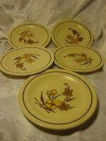 Vintage Set (5)  Brown Floral Cream Rimmed Dessert Salad Plates     385
