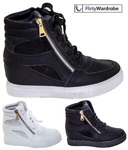 Diamante Sneakers Hidden Wedge High Top Trainers Womens Pumps Ankle Boots Shoes