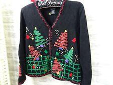 Vintage Christmas cardigan cotton ramie STUDIO JOY trees & snowmen size M/P B921