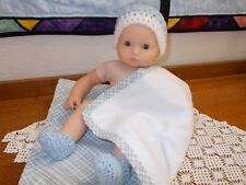 """SALE Handmade 15""""Doll clothes for/fits AG Bitty Baby/Twins Doll-Boys hat,booties"""