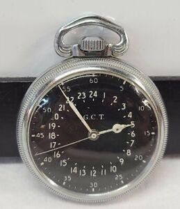WW2 Second Hand Hamilton GCT 24-Hour 22J Navigation Pocket Watch AN5740
