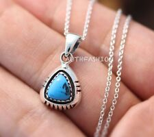 Sterling Silver Turquoise Pendant Triangular Necklace Women's Jewelry Gift Idea