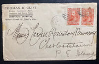 1905 St Johns Newfoundland Commercial Broker Cover  To Charlottetown
