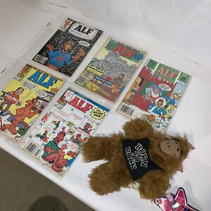 Vintage Alf Born To Rock Hand Puppet And 5 Good Alf Comic Books, Nice!