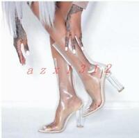New womens high heel block boots transparent pointy toe back zipper shoes 2017