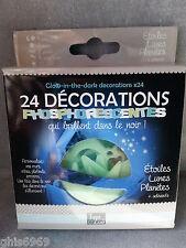 déco phosphorescente, 24 décorations phosphorescentes, lunes,planètes,galaxies..